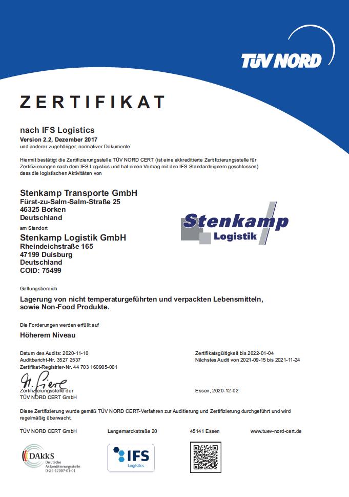 Zertifikat Stenkamp Duisburg