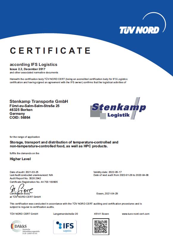 Zertifikat Stenkamp Borken